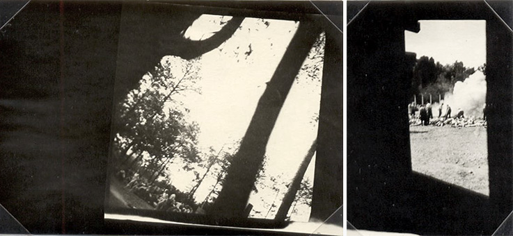 Zwei der vier einzigen existierenden Fotos von den Ermordungen im KZ Auschwitz Birkenau. Foto: Alberto Errera, getötet 1944 in Auschwitz